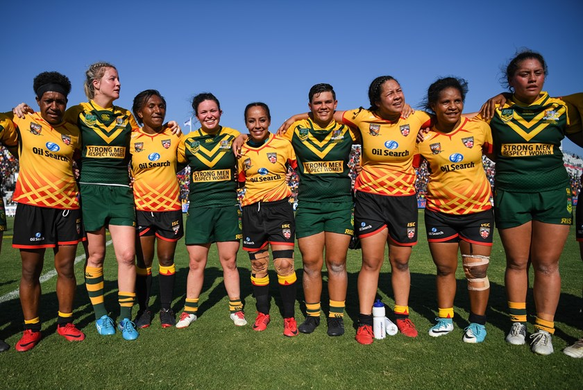 The Jillaroos and Orchids after their clash in PNG in 2018.