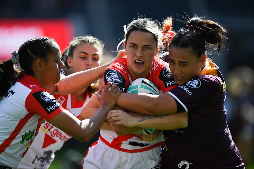 Dragons fullback Botille Vette-Welsh is wrapped up by the Brisbane defence in their 2019 round-one clash.