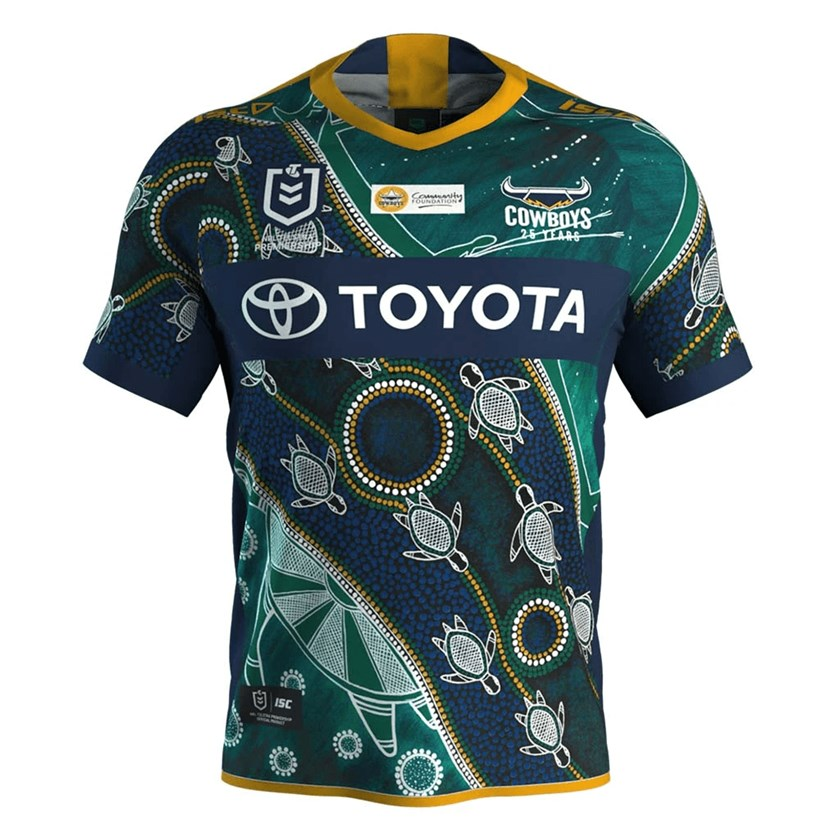 North Queensland's Indigenous Round jersey. The 'Chosen One' jersey design is the winner of the Cowboys annual Indigenous Jersey Design Competition, designed by artist William Chambers. In the Torres Strait and North Queensland Indigenous communities, the Sea Turtle is considered a delicacy. This painting represents the turtle's journey from hatchling to fully grown adult. The smaller turtles are hatchlings on their journey from the shore to the open sea. The circles represent all obstacles and predators; not all become fully grown. The hunters with spears look for the chosen one which will become food. The fully grown turtle is also the chosen one as it gets its chance to reproduce and continue the cycle of life.