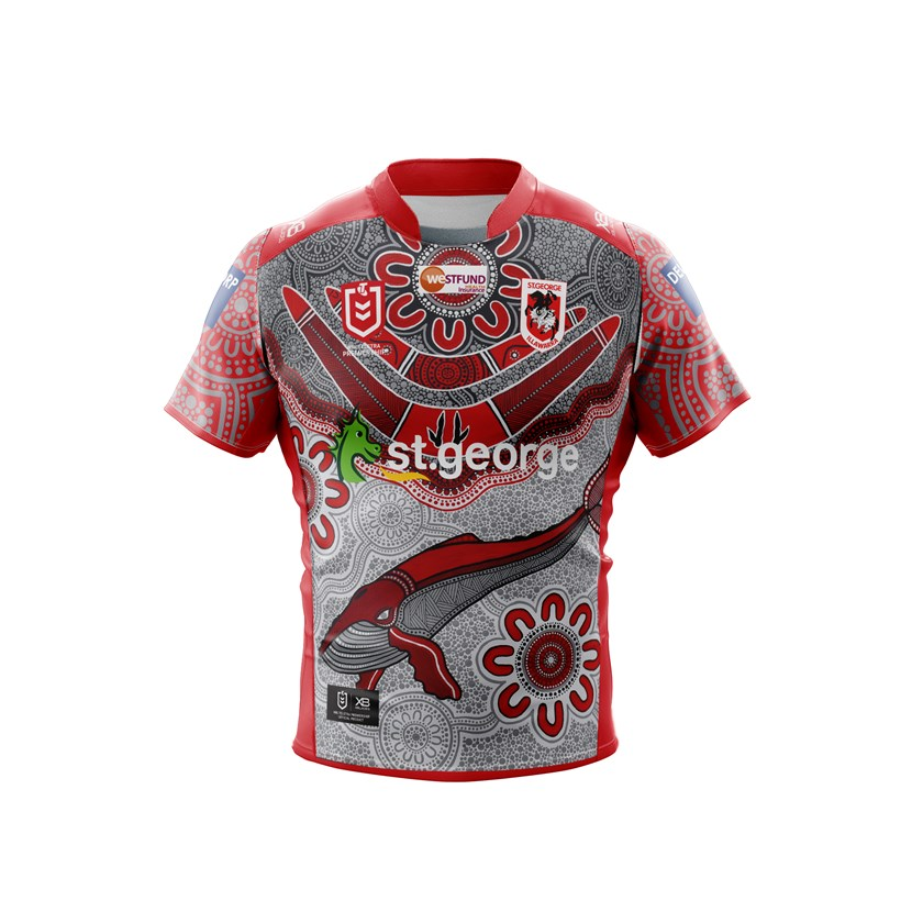 The Dragons' 2020 Indigenous Round jersey. The front of jersey design, entitled Dragons Community by Watson, showcases spiritual guides, the humpback and footprints of the kangaroo within the hunting boomerang and pays respect to the Dragons' playing group, their families, staff and supporters including the Dharawal-speaking people.  The smaller community groups and pathways in grey represent the different backgrounds and journeys travelled by all players and supporters, showing that in the end they are all tied together by the strength of the Dragon's jersey.