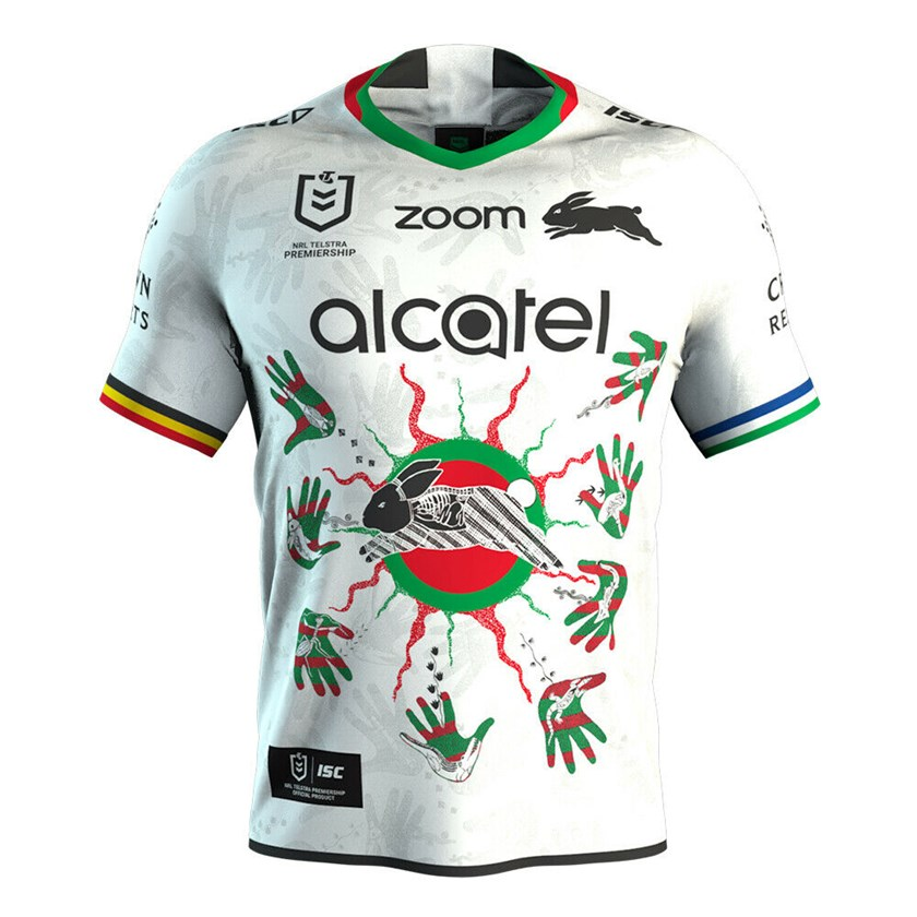 South Sydney's Indigenous Round jersey. For the 2020 NRL Indigenous Round, the Rabbitohs will be wearing culture on their sleeves, representing the proud legacy of the indigenous players who have worn the Jersey before them. In collaboration with our Indigenous players and artist Uncle Joe Walker, the Jersey design connects all the different communities, players and their stories to the Black Rabbit.