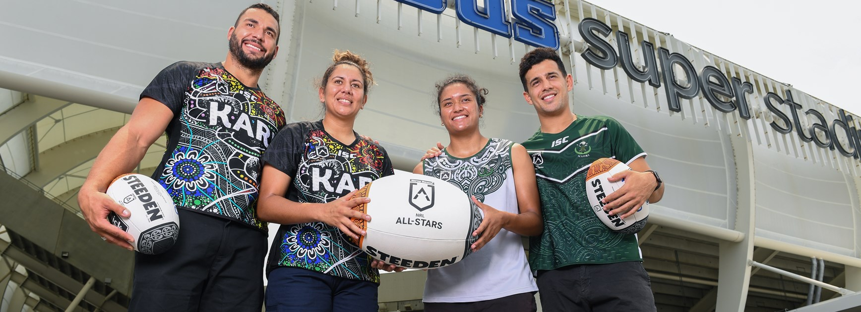 Talisha Harden, Ryan James, Jordan Kahu and Zahara Temara at the launch of the 2020 All Stars.