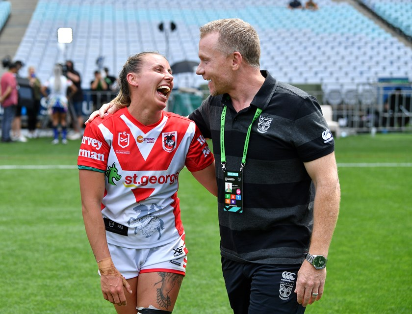 Sam Bremner shares a laugh with Warriors and Jillaroos oach Brad Donald in 2020.