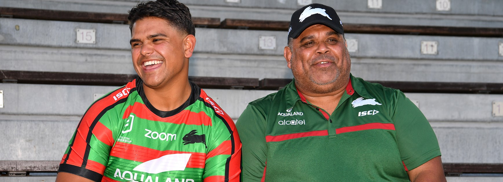 Latrell Mitchell and his father Matt.