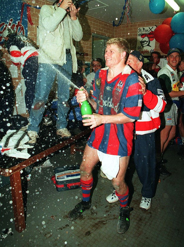 Darren Albert celebrates after the 1997 ARL grand final