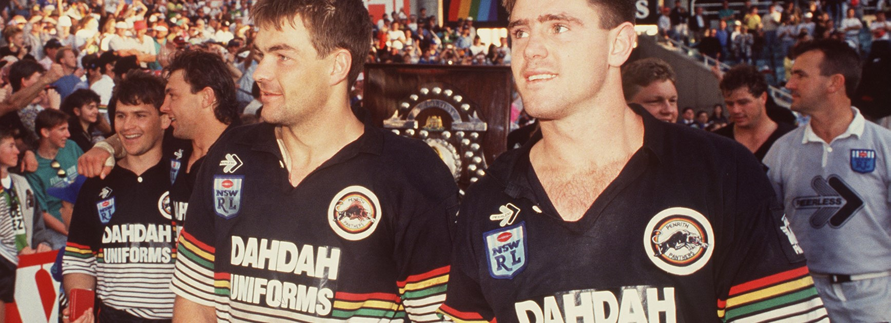 Fittler with Paul Dunn after Penrith's 1991 grand final win over Canberra.