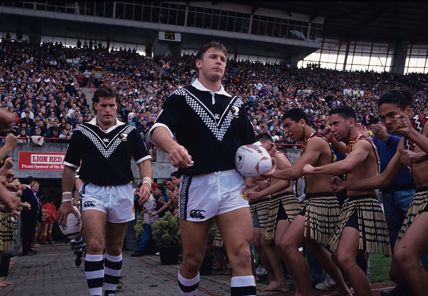 Gary Freeman leads the Kiwis out in 1993.