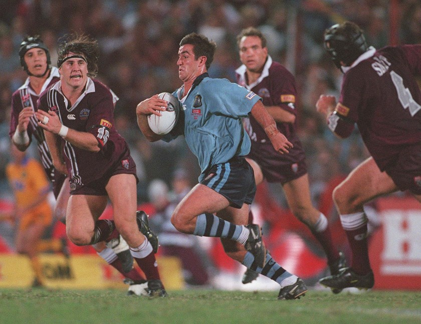 Andrew Johns makes a break for the Blues in 1998.