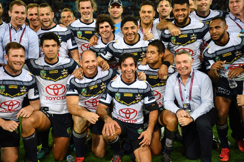 Thurston is surrounded by Cowboys after his final NRL game in 2018.