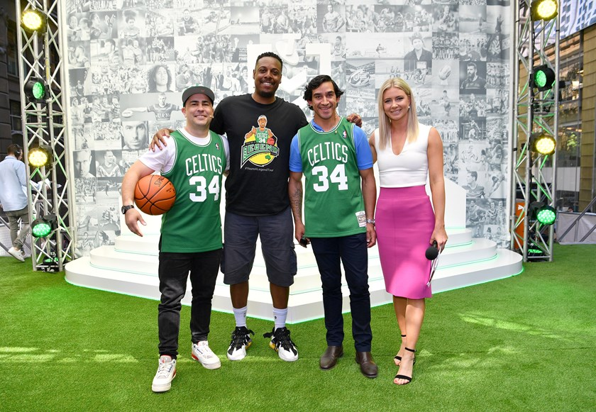 Soward with one of his heroes, Boston Celtics legend Paul Pierce, as well as Cowboys great Johnathan Thurston and NRL.com's Katie Brown in 2019.