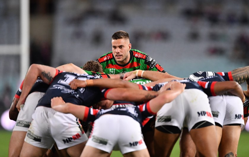 Rabbitohs fullback Corey Allan packs down at lock against the Roosters.