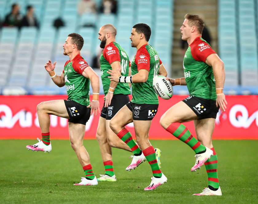 Damien Cook, Mark Nicholls, Cody Walker and Tom Burgess are in synch in their warm-up.