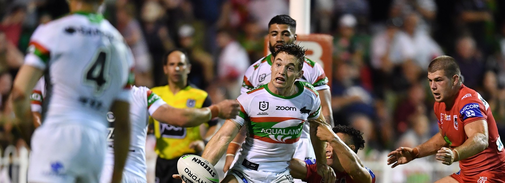 Rabbitohs back-rower Cameron Murray passes against the Dragons at the NRL Nines in Perth.