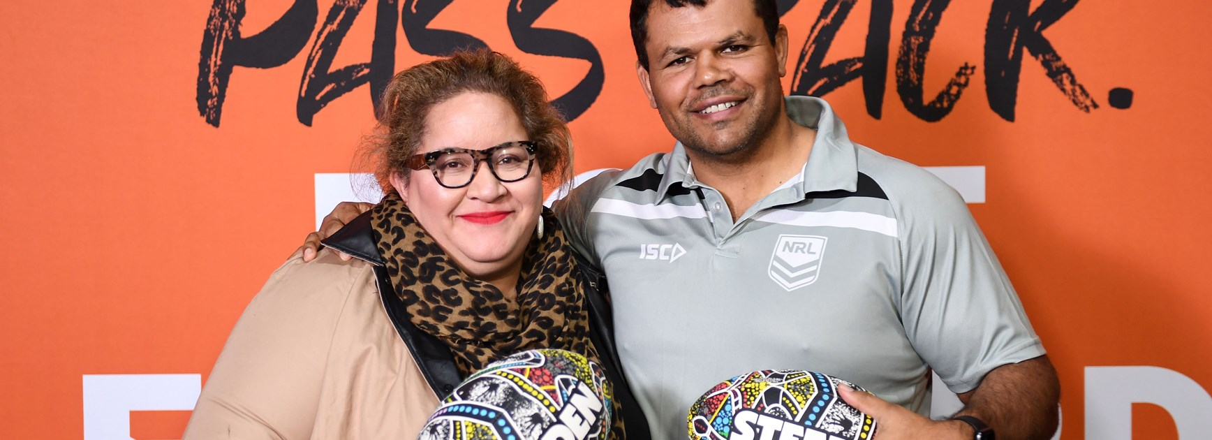 Megan Davis and Dean Widders at the 2020 NRL Indigenous Round launch.