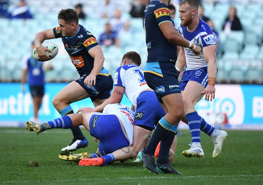 Bulldogs prop Dylan Napa injures his knee against the Titans.