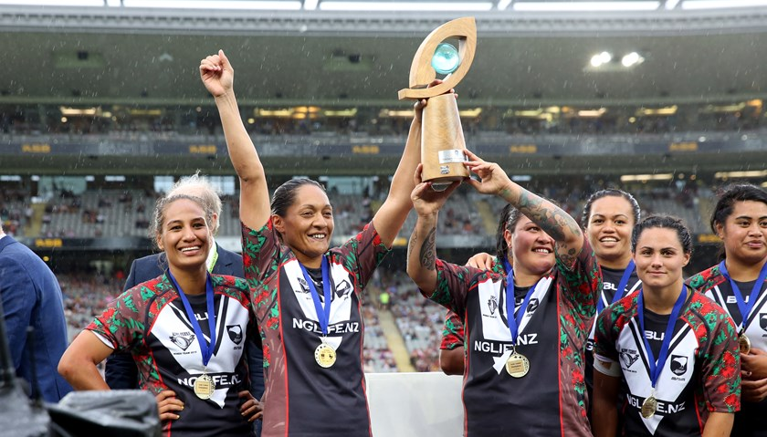 The Kiwi Ferns celebrate their success in the 2015 Auckland Nines.