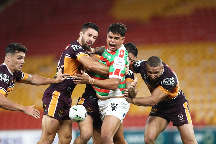 Rabbitohs fullback Latrell Mitchell spills the pill against Brisbane in round two.