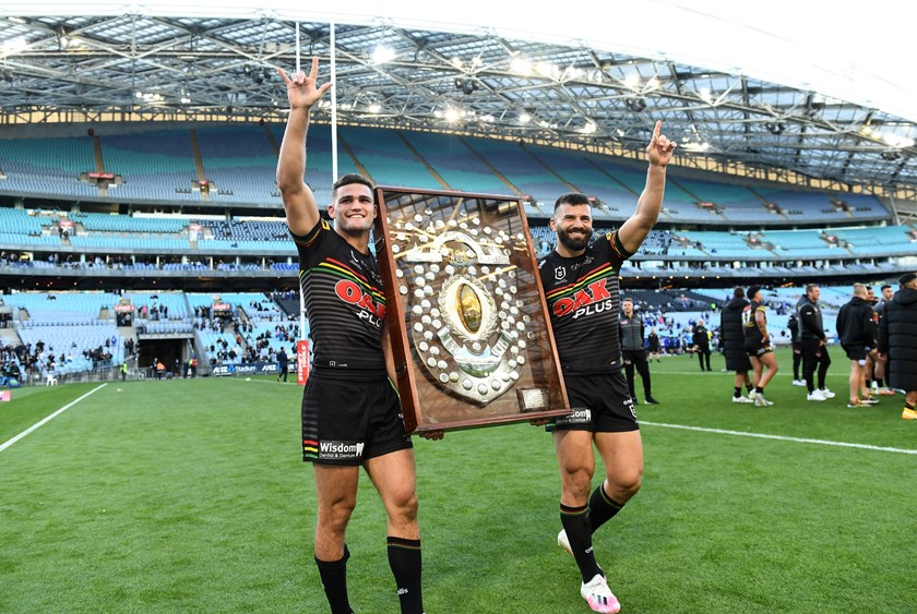 Nathan Cleary and Josh Mansour with the JJ Giltinan Shield.