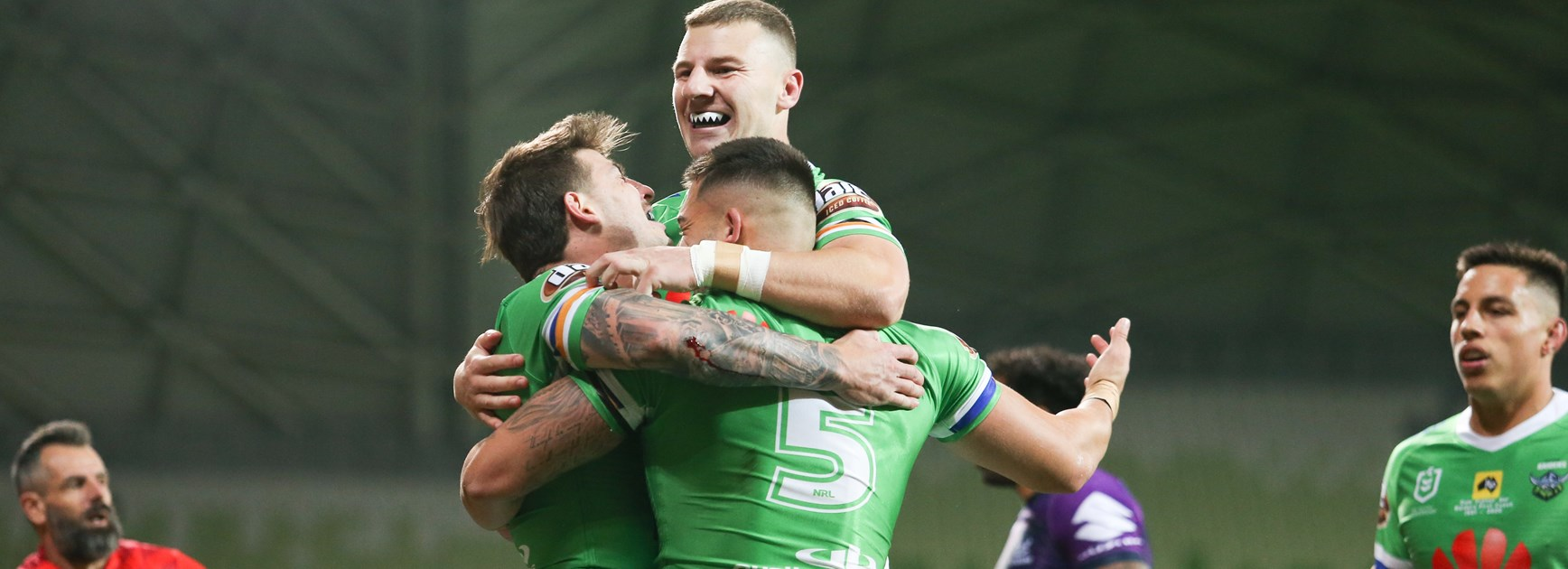 The Raiders celebrate a try in Melbourne.