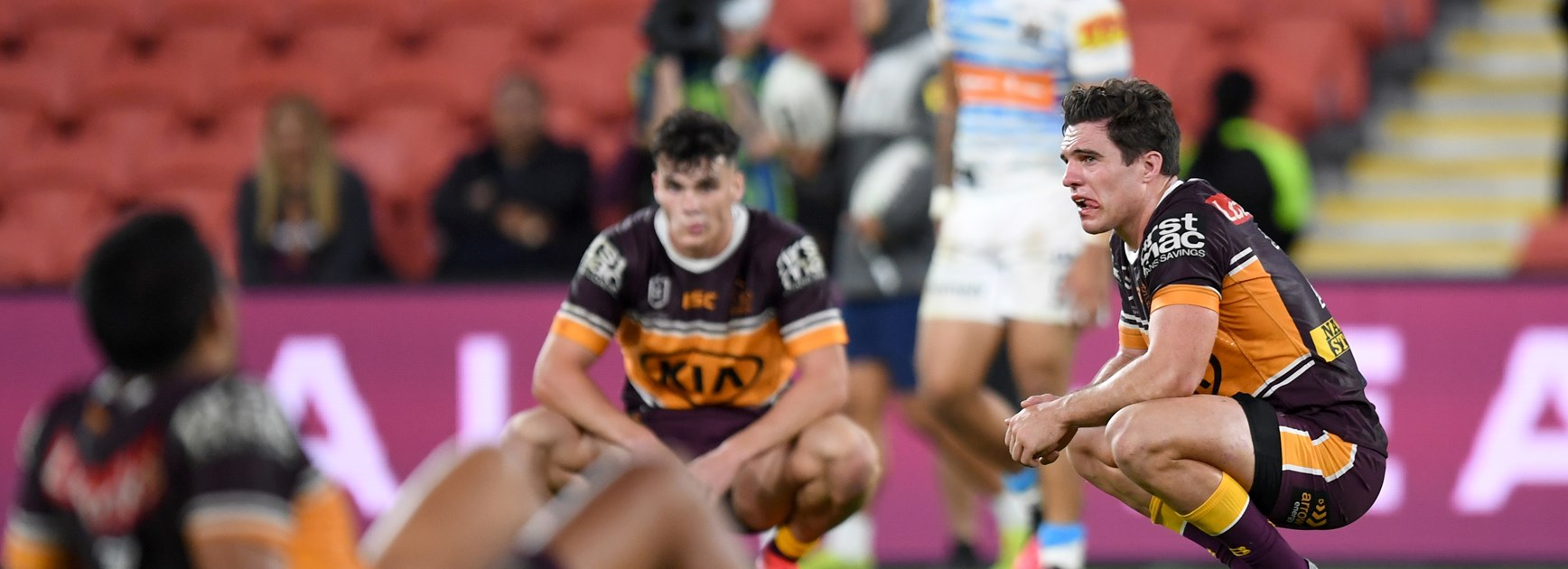 Broncos trio Anthony Milford, Herbie Farnworth and Brodie Croft feel the sting of defeat.