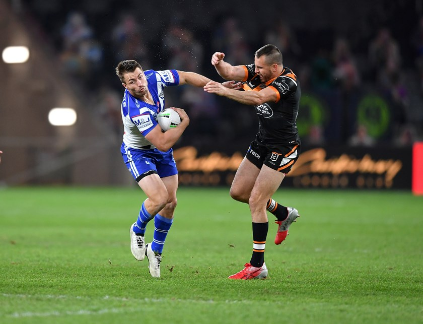 Kieran Foran takes on Josh Reynolds.