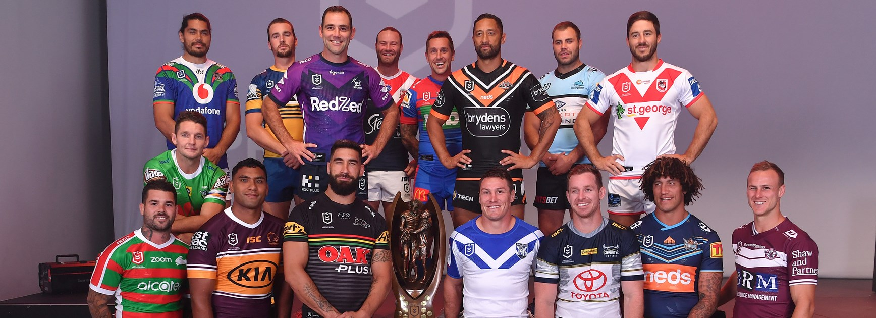 Representatives from all 16 clubs at the 2020 NRL season launch.