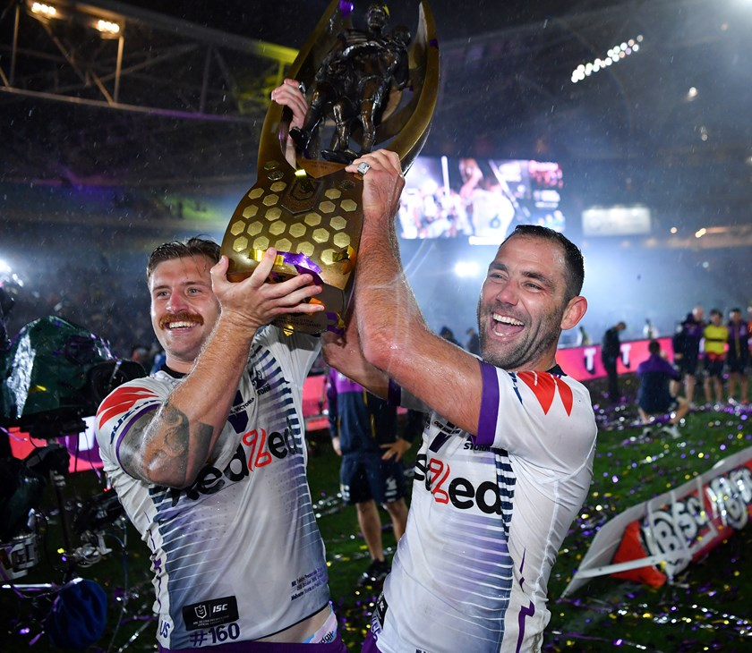 Cameron Munster and Cameron Smith with the Provan-Summons trophy.
