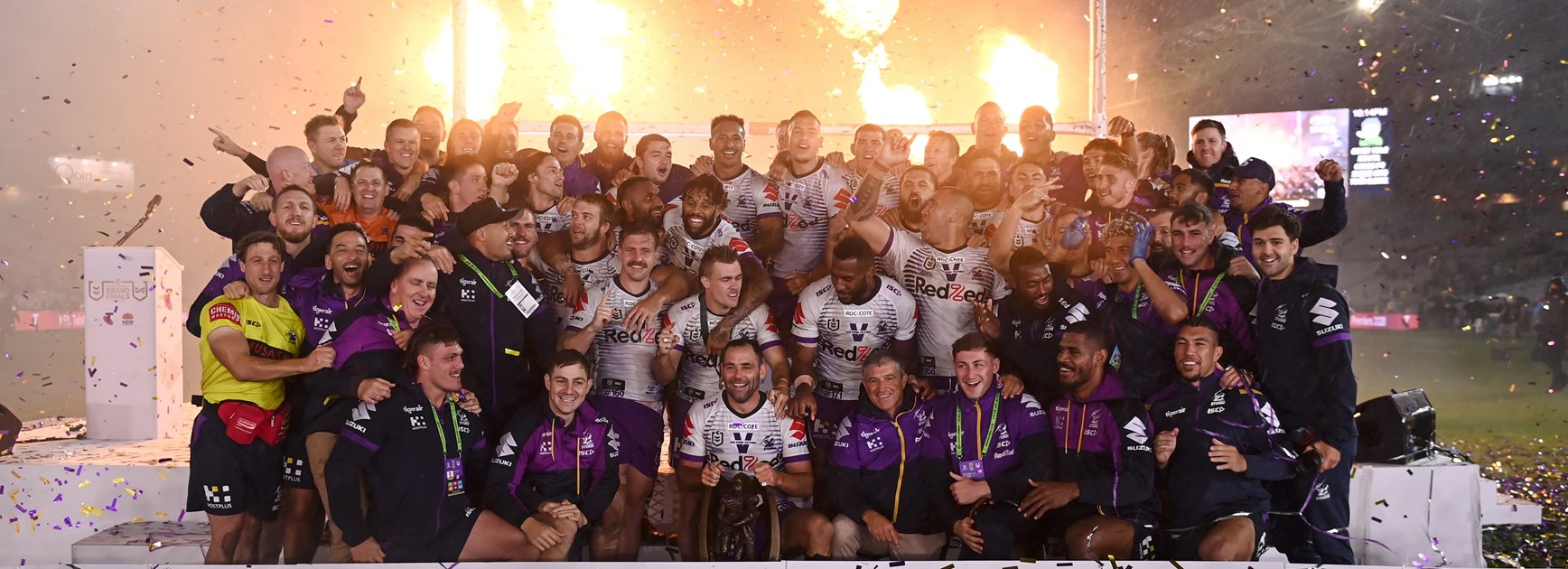 The Storm celebrate their 2020 grand final win.