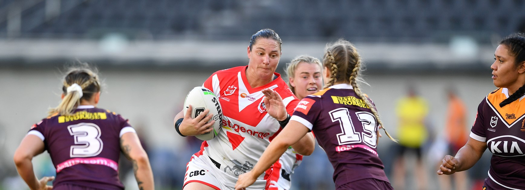 Steph Hancock in action for the Dragons.