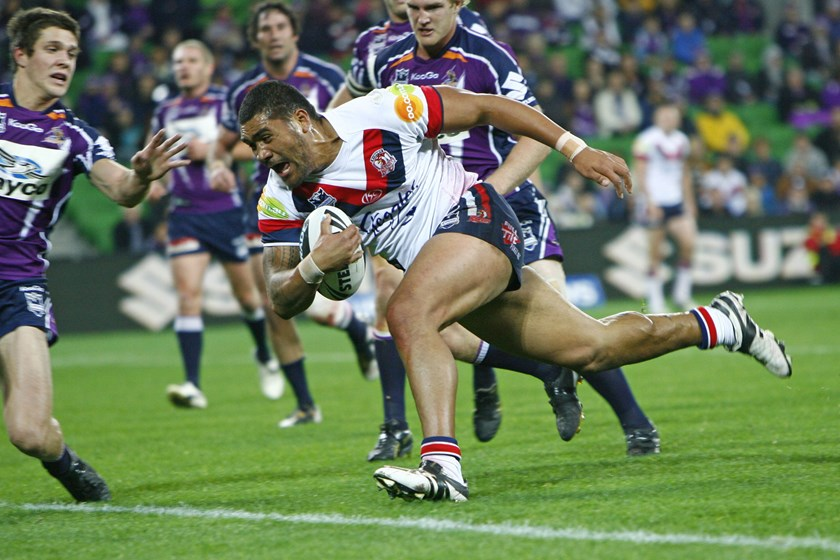 Mose Masoe scores for the Roosters in 2010.