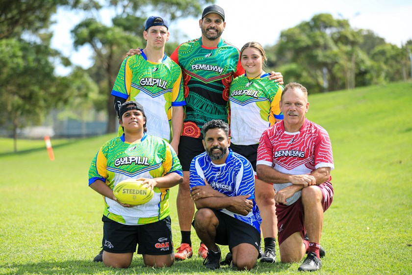 School to Work participants with rugby league legends Greg Inglis, Preston Campbell and Cliff Lyons.