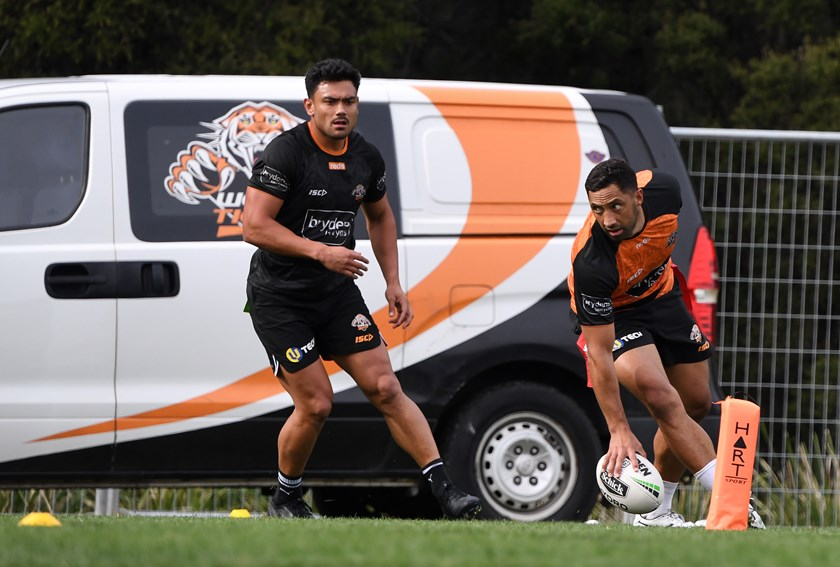 Benji Marshall touches down at Tigers training on Thursday.