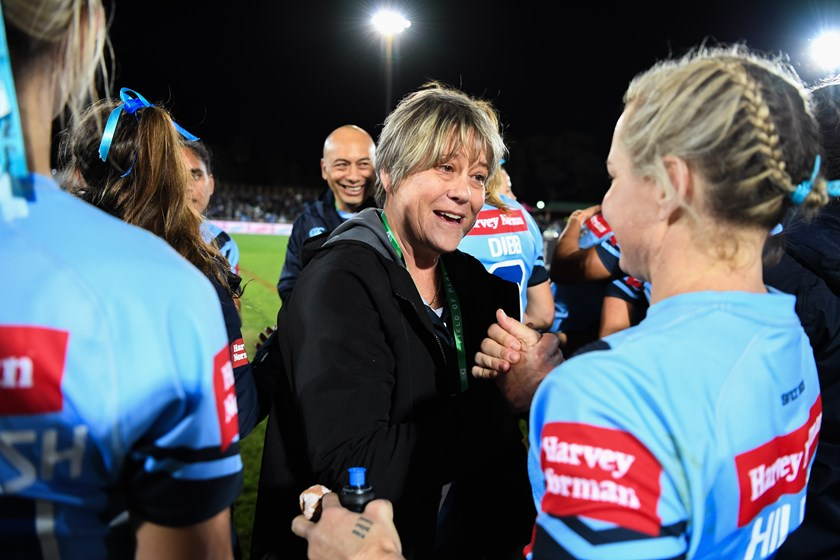 Tarsha Gale congratulates the NSW Blues after their 2019 Origin win.