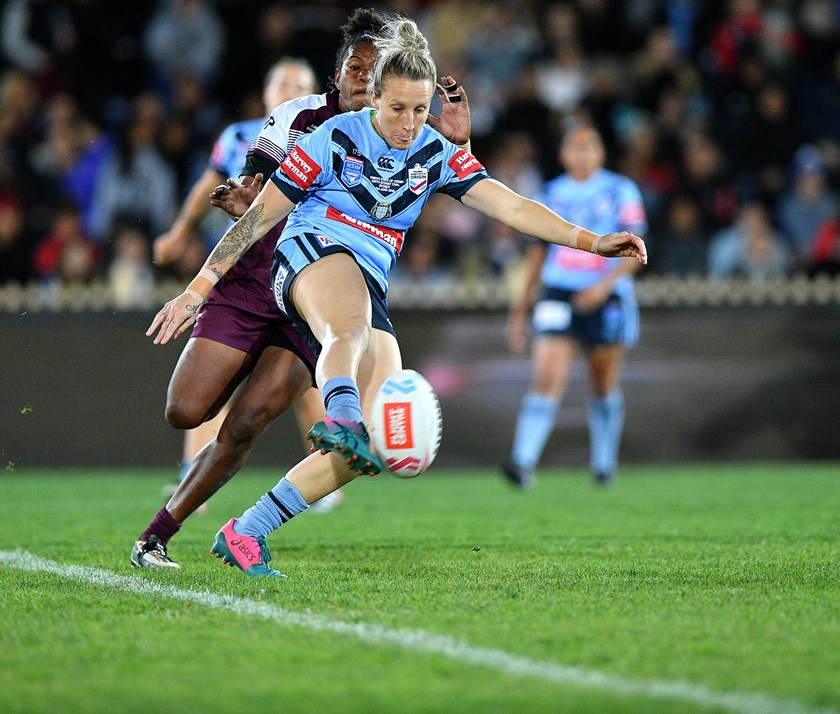 Holli Wheeler shows off her kicking skills for NSW against Queensland in 2019.