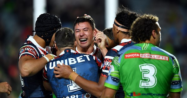 NRL 2021 Sydney Roosters Canberra Raiders Joseph Suaalii Joey Manu Roosters run away with big win – NRL.COM
