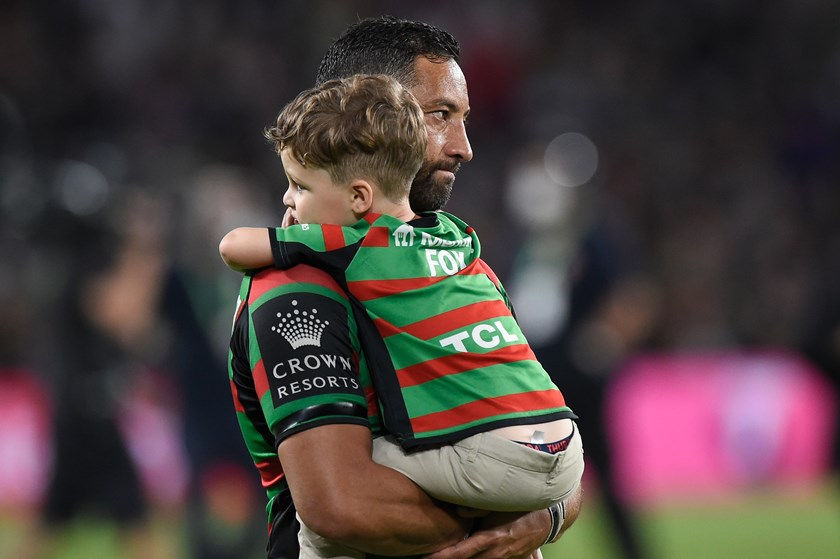 Rabbitohs utility Benji Marshall and son Fox after the grand final loss to Penrith.