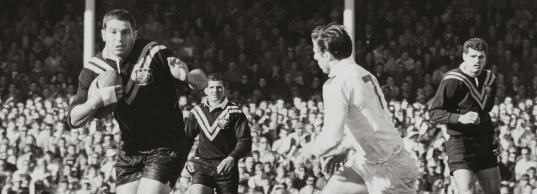 Beetson hits the ball up during his Test debut, when he set up two tries before half time to lay the platform for the Australian's victory.