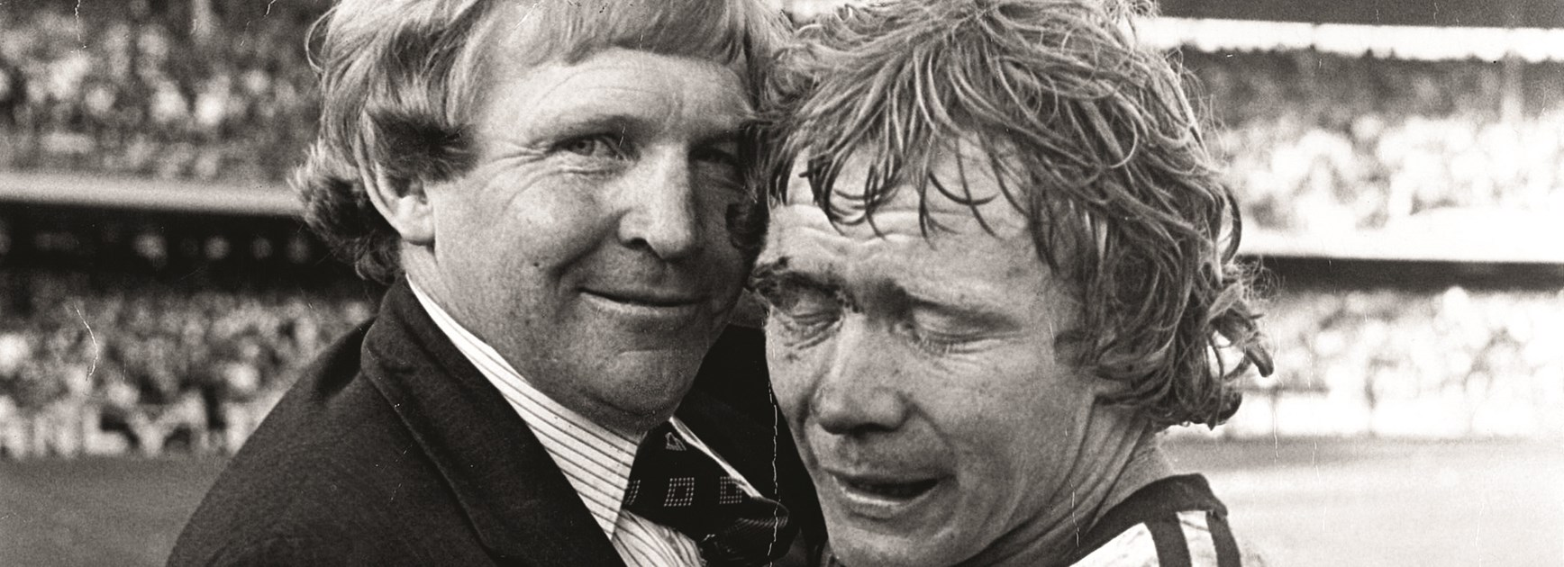 Fulton and coach Frank Stanton embrace at full-time of the 1976 Grand Final after Manly claimed their third premiership with a 13-10 win over Parramatta.