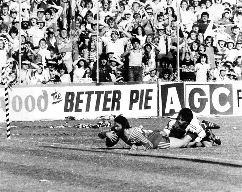 Grothe scores for Parramatta during their 1982 Grand Final victory.