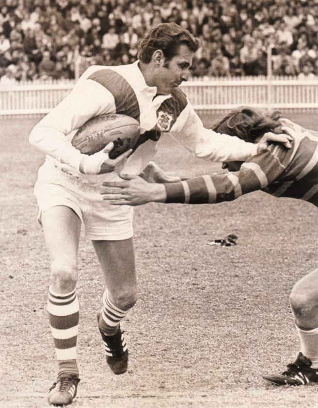 Langlands looks to beat a Parramatta defender during a match at the SCG.