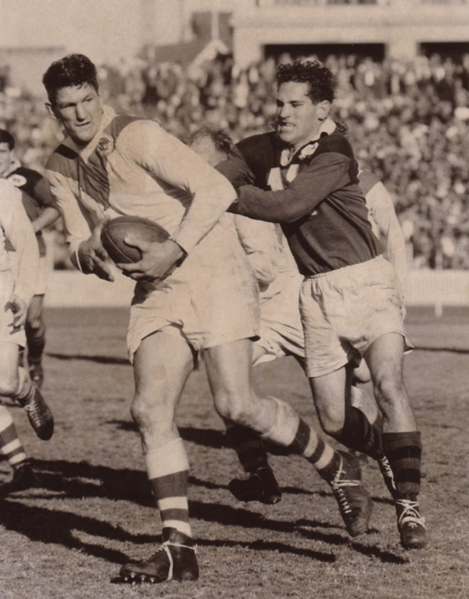 Norm Provan ignites another attacking raid for St George in a match against North Sydney in 1961.