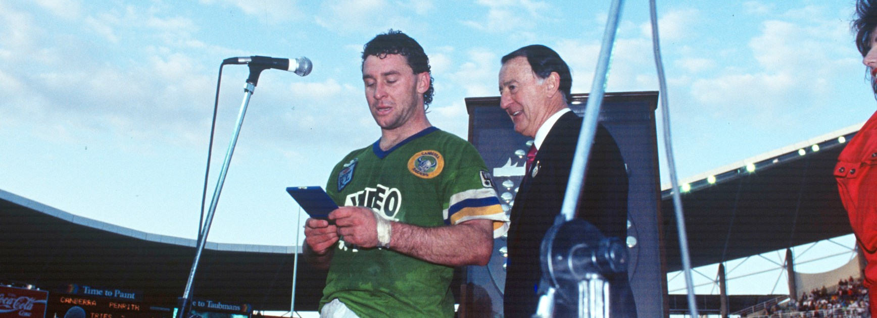 After receiving the Clive Churchill Medal for his starring role in Canberra's 1990 Grand Final win over Penrith.