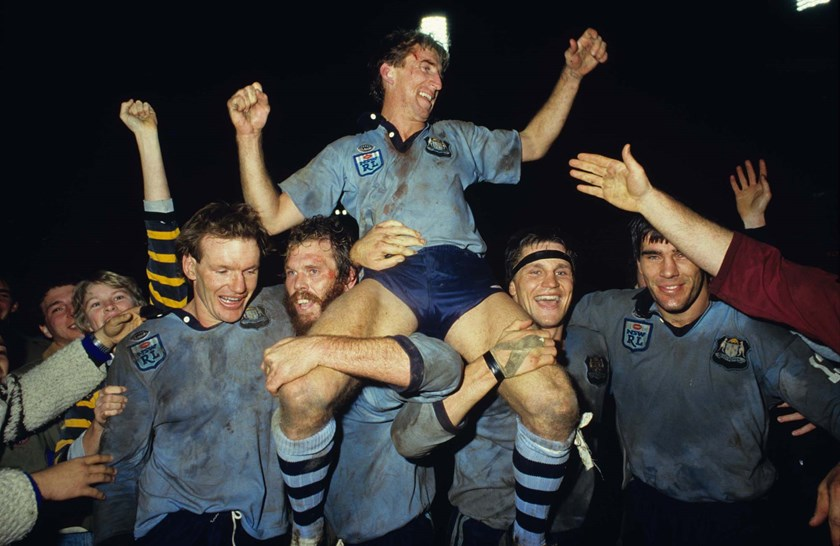 Blues captain Steve Mortimer savours the win in 1985