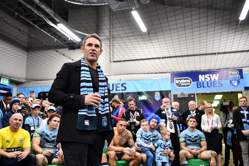 NSW coach Brad Fittler savours the atmosphere of a triumphant Blues dressing room after the 2018 Origin series win.